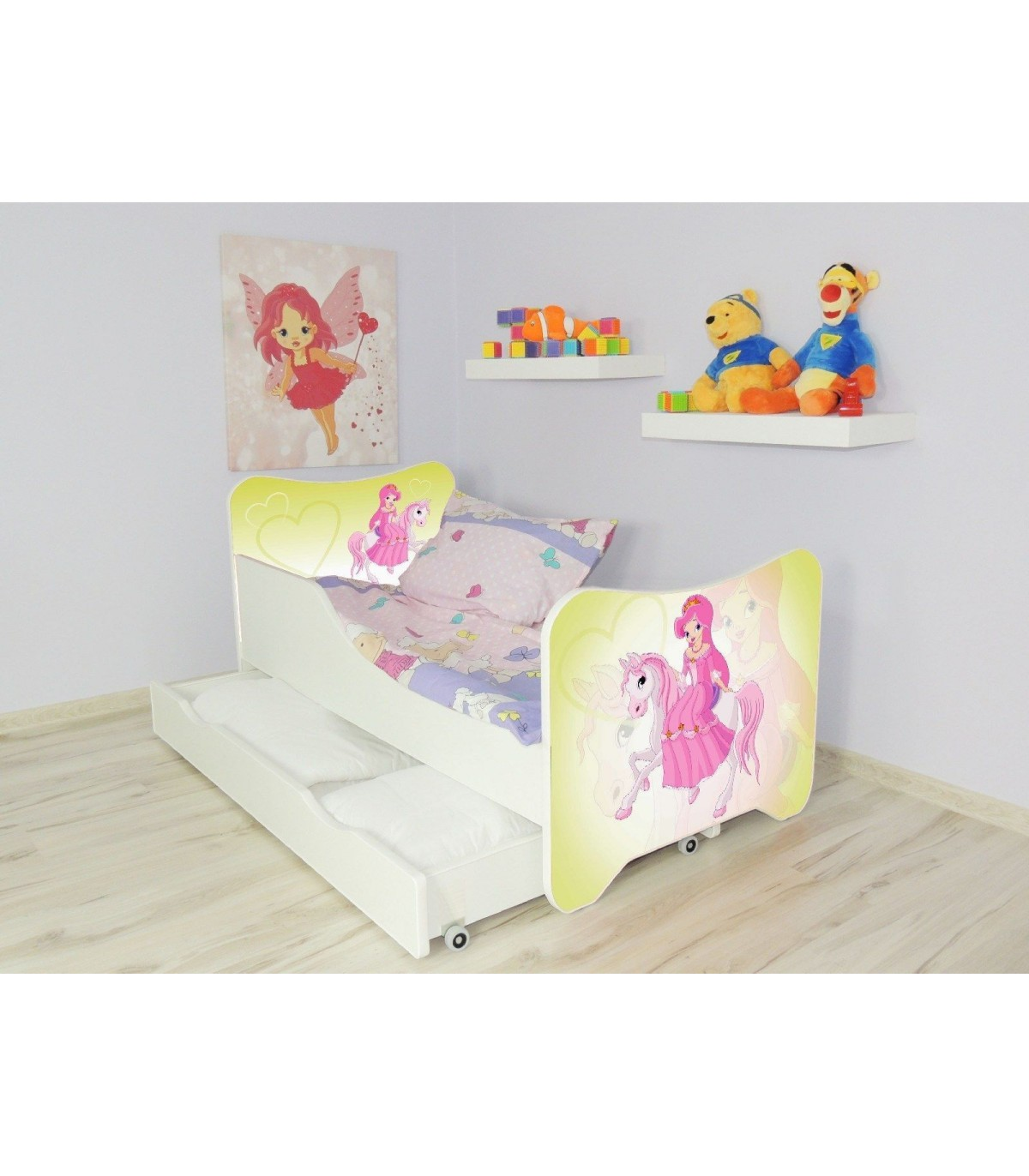 Children Bed Pony Single Bed For Girls Kids With Mattress 140x70 Cm Drawer Pillow