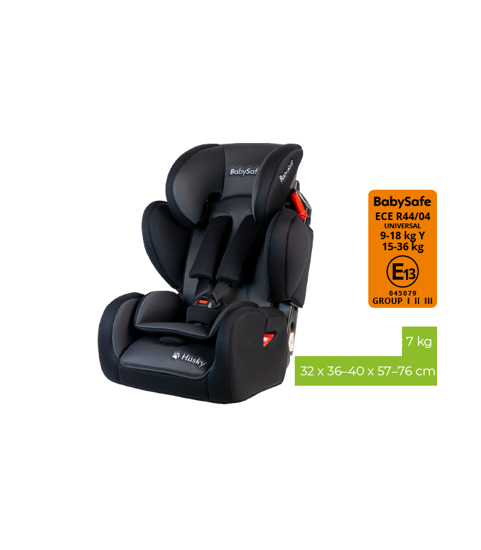 BabySafe Husky SIP Black Car Seat (9 months to 12 years, 9-36 kg)
