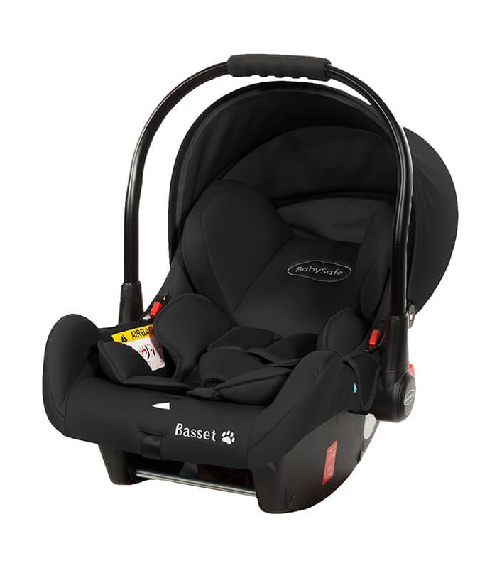BabySafe Basset Black Car Seat with or without ISOFIX Base (0-15 months, 0-13 kg)