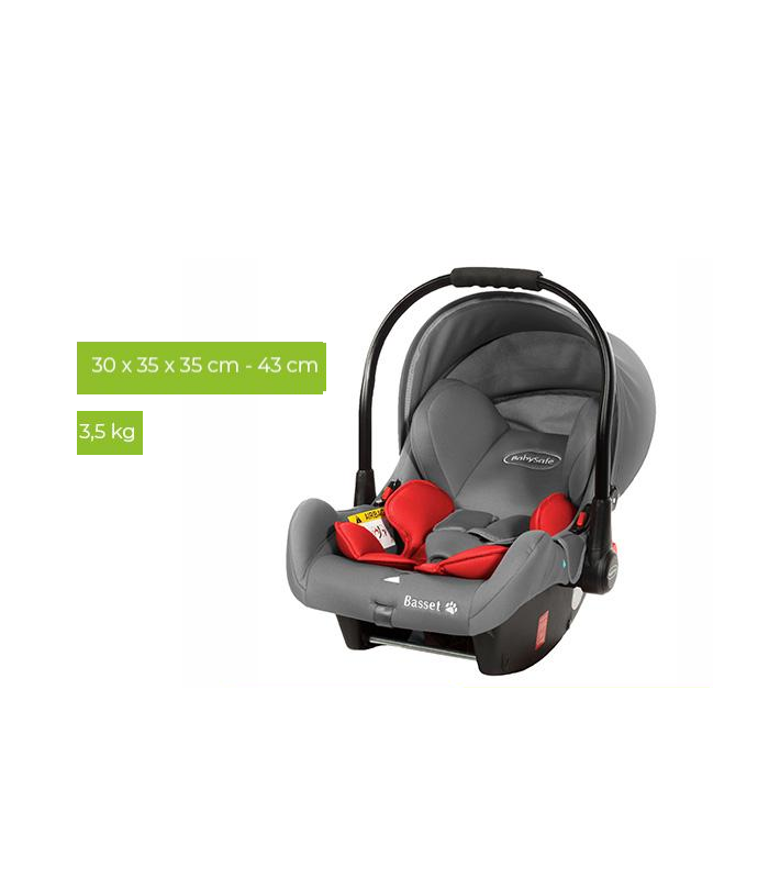 BabySafe Basset Red Car Seat with or without ISOFIX Base (0-15 months, 0-13 kg)