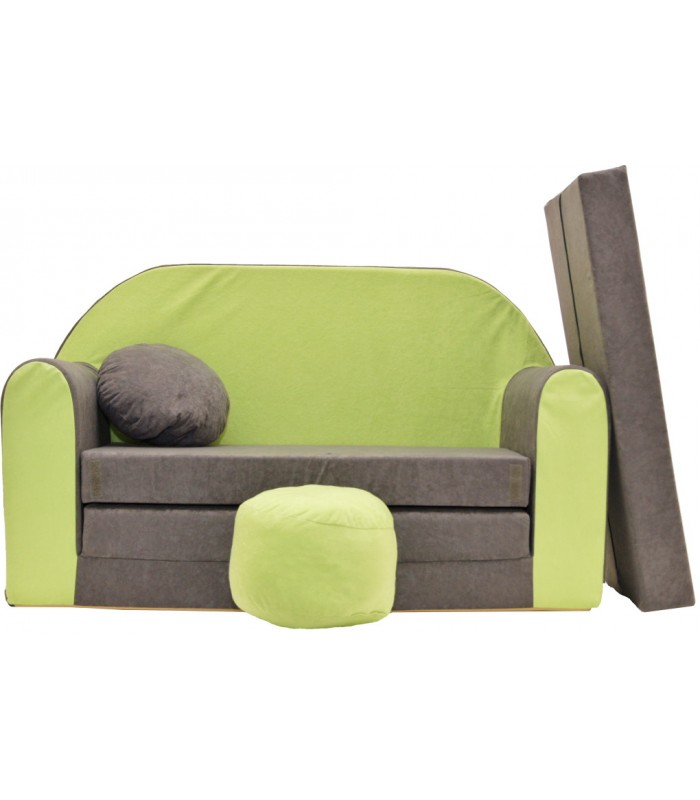 Childrens sofa bed type W, Fold Out Sofa Foam Bed for children + free pillow and pouffe WA1