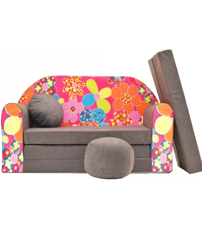 Childrens sofa bed type W, Fold Out Sofa Foam Bed for children + free pillow and pouffe WA12+