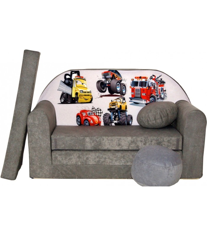 Childrens sofa bed type W, Fold Out Sofa Foam Bed for children + free pillow and pouffe WA14