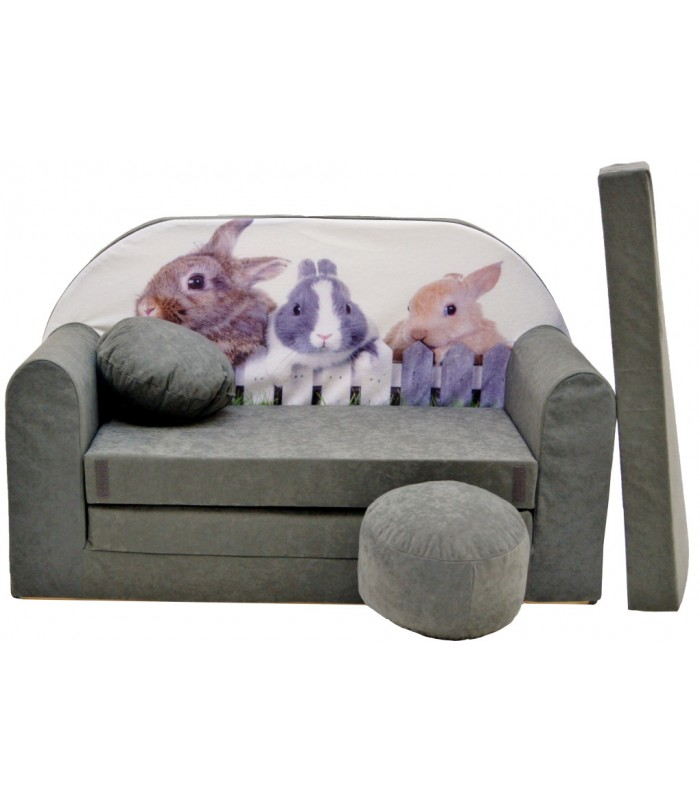 Childrens sofa bed type W, Fold Out Sofa Foam Bed for children + free pillow and pouffe WA30