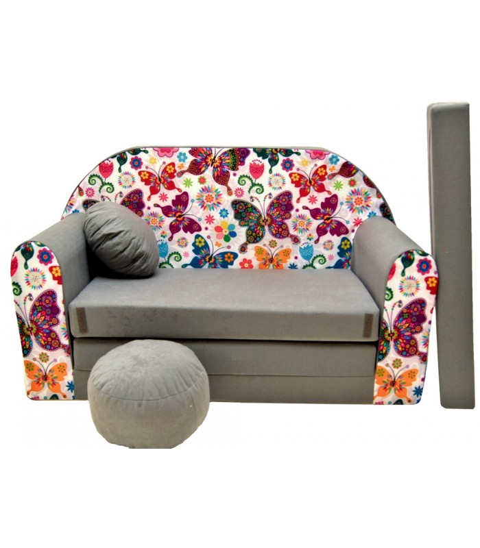 Childrens sofa bed type W, Fold Out Sofa Foam Bed for children + free pillow and pouffe grey with butterflies