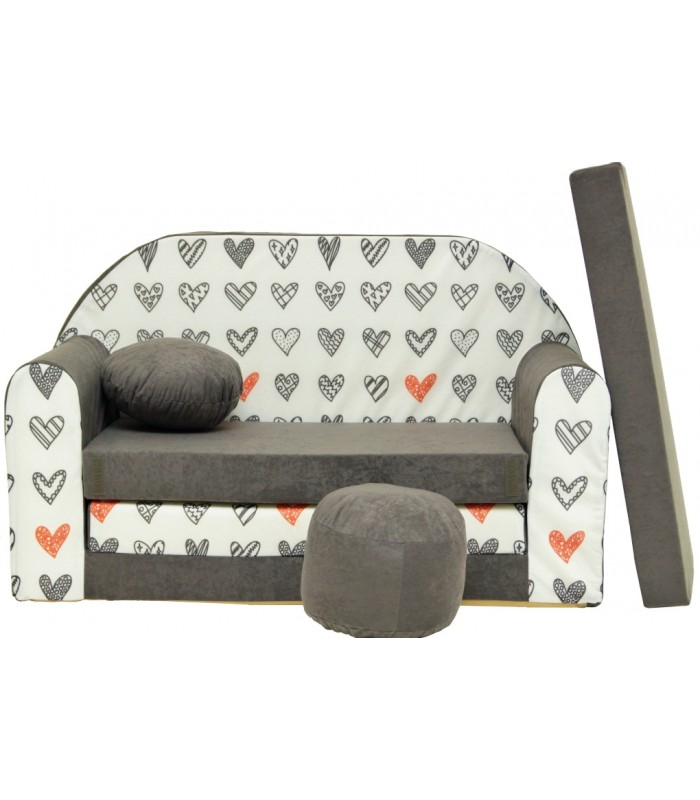 Childrens sofa bed type W, Fold Out Sofa Foam Bed for children + free pillow and pouffe WA45