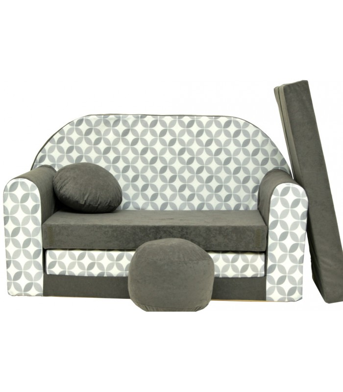 Childrens sofa bed type W, Fold Out Sofa Foam Bed for children + free pillow and pouffe WA46