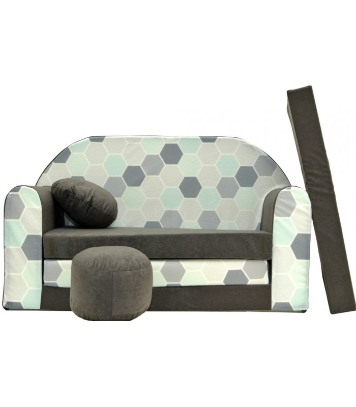 Childrens sofa bed type W, Fold Out Sofa Foam Bed for children + free pillow and pouffe WA48