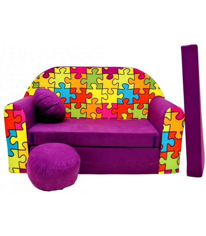 Childrens sofa bed type W, Fold Out Sofa Foam Bed for children + free pillow and pouffe G34