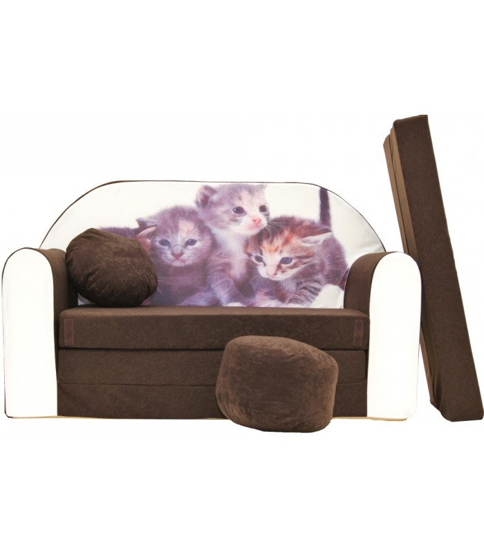 Childrens sofa bed type W, Fold Out Sofa Foam Bed for children + free pillow and pouffe K6