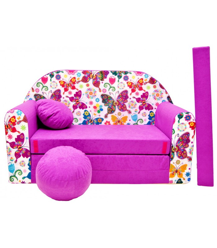 Childrens sofa bed type W, Fold Out Sofa Foam Bed for children + free pillow and pouffe M33