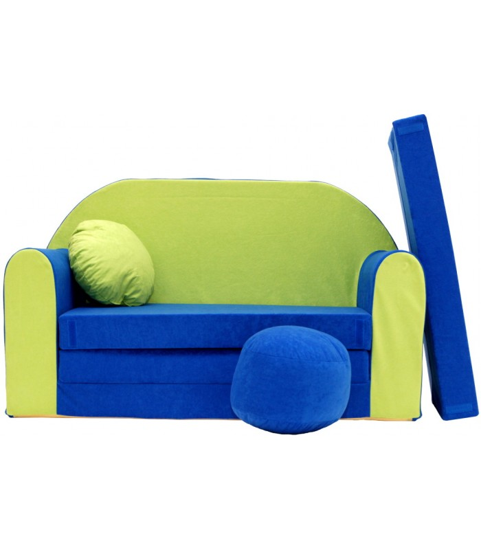 Childrens sofa bed type W, Fold Out Sofa Foam Bed for children + free pillow and pouffe WN