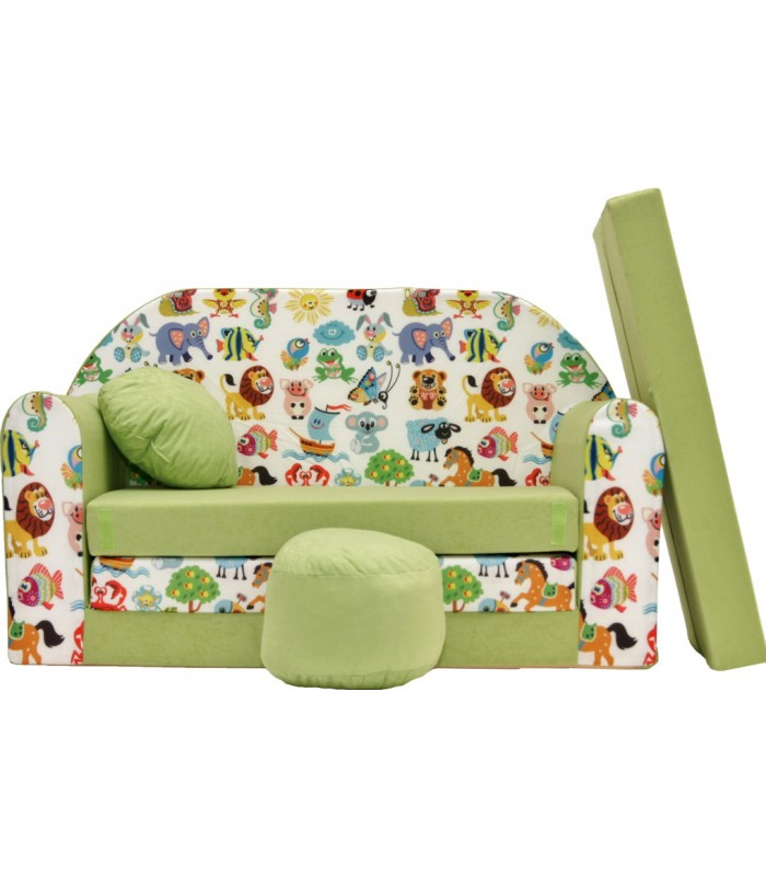 Childrens sofa bed type W, Fold Out Sofa Foam Bed for children + free pillow and pouffe Z5