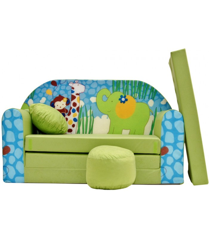 Childrens sofa bed type W, Fold Out Sofa Foam Bed for children + free pillow and pouffe WZ16+
