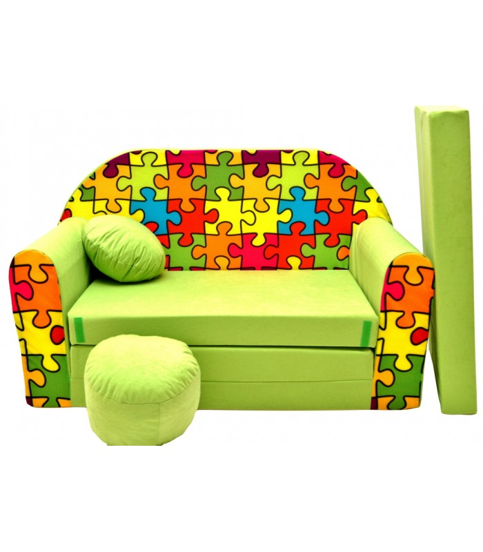 Childrens sofa bed type W, Fold Out Sofa Foam Bed for children + free pillow and pouffe,  green in a puzzle