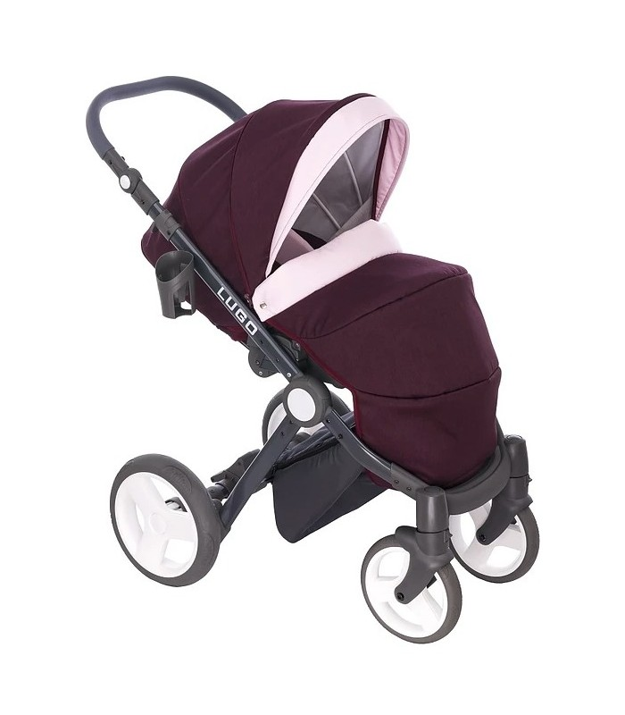 Lugo L01 Purple-Pink-Black Fabric Travel System 2in1 / 3in1 / 4in1