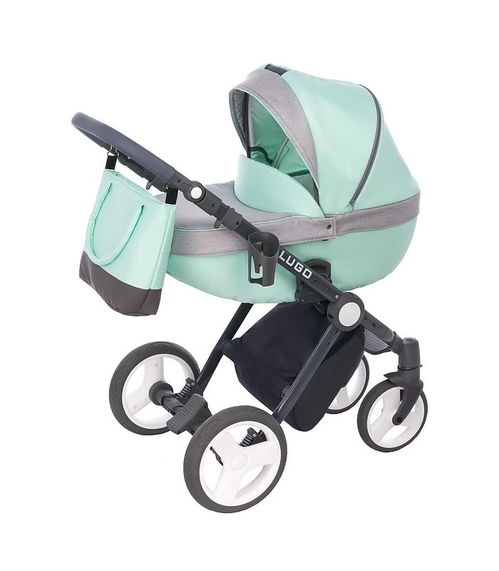 Lugo L04 Mint-Grey-Black Fabric Travel System 2in1 / 3in1 / 4in1
