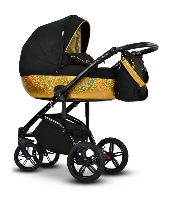Modo Next Royal Black-Gold Leatherette + Fabric Travel System 2in1 / 3in1 / 4in1