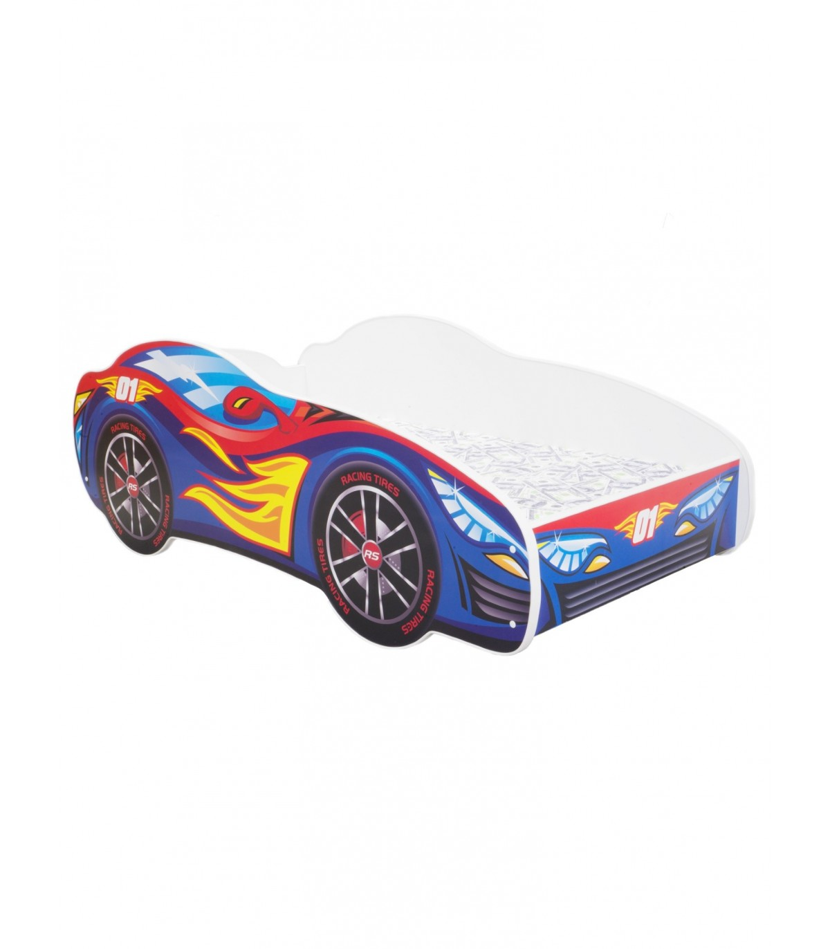Racing Car Bed Toddler Red Blue Mattress Pillow