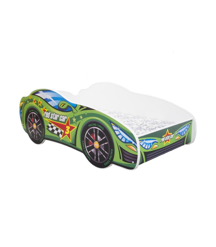 Racing Car Bed Toddler GREEN + mattress + pillow