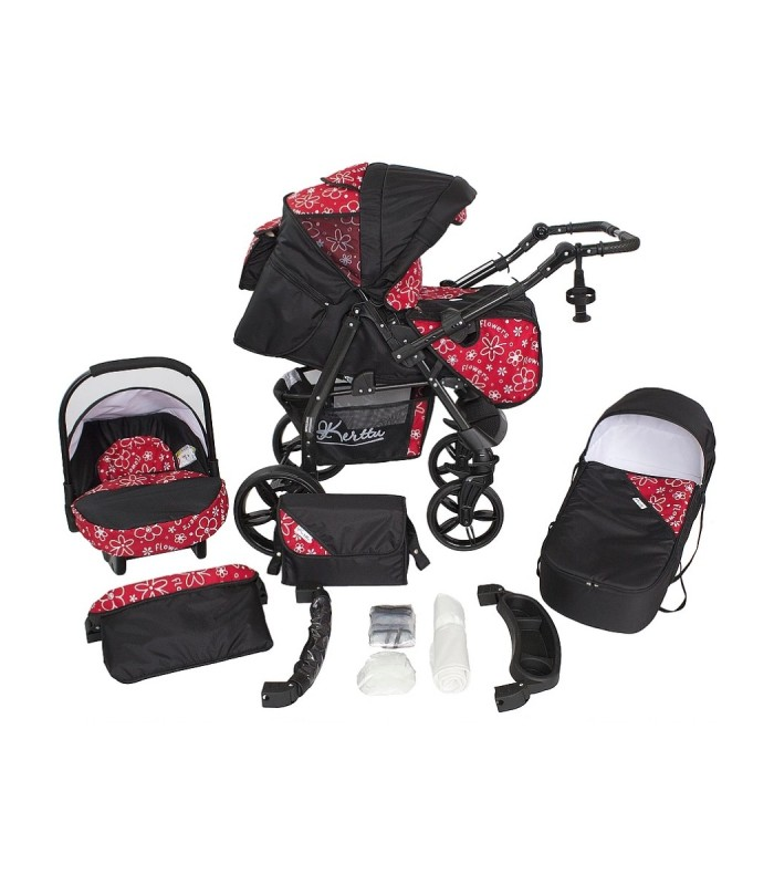Twist 19 Black-Red-Flowers Fabric Travel System 2in1 / 3in1