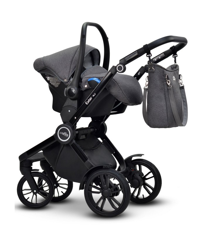 Modo Exter 03 Black-Beige Leatherette + Fabric Travel System 2in1 / 3in1 / 4in1
