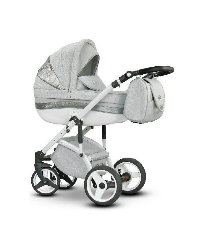 Stella 07 Silver-White-Grey Eco-leather + Fabric Travel System 2in1 / 3in1 / 4in1