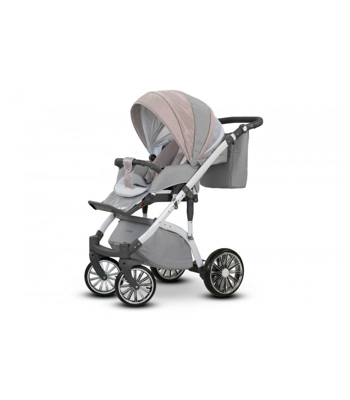 Mau 01 Black-Gold-Grey Leatherette + Fabric Travel System 2in1 / 3in1 / 4in1